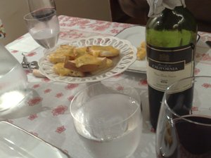 vinho e massa